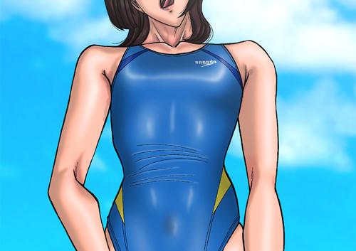 うまい堂・競泳水着姿の女性